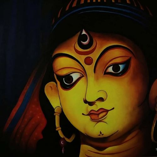mothers - third eye , 36 x 24 inch, alok pandey,religious paintings,paintings for living room,canvas board,acrylic color,36x24inch,GAL033938126