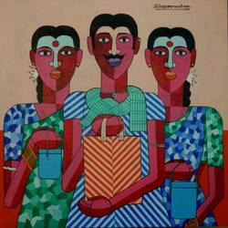 farm labour, 36 x 36 inch, naheem rustum,figurative paintings,paintings for living room,canvas,acrylic color,36x36inch,GAL0344814