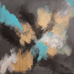 abstract - grey gold teal blue, 12 x 12 inch, amita dand,abstract paintings,paintings for living room,canvas board,acrylic color,12x12inch,GAL014678141