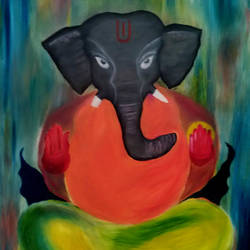 lord gajanana - modern art, 38 x 26 inch, rickin patel,paintings,religious paintings,paintings for living room,canvas,oil paint,38x26inch,GAL021608143