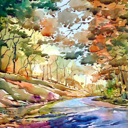 clear path, 21 x 15 inch, raji p,landscape paintings,canson paper,watercolor,21x15inch,GAL05908145