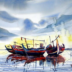 ready to go, 21 x 15 inch, raji p,landscape paintings,paintings for living room,canson paper,watercolor,21x15inch,GAL05908146