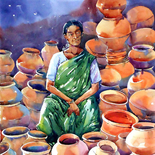 pot seller, 15 x 21 inch, raji p,figurative paintings,paintings for dining room,canson paper,watercolor,15x21inch,GAL05908147