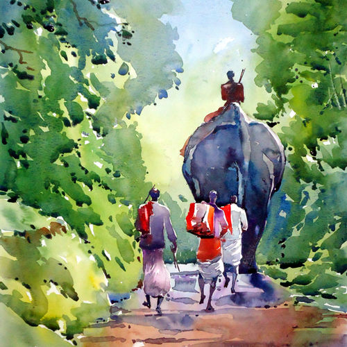 travel big , 12 x 15 inch, raji p,figurative paintings,paintings for living room,canson paper,watercolor,12x15inch,GAL05908149