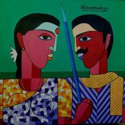 village work, 24 x 24 inch, naheem rustum,figurative paintings,paintings for living room,canvas,acrylic color,24x24inch,GAL0344815