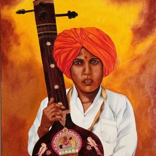 boy with tanpura, 24 x 30 inch, cheryl monis,figurative paintings,paintings,canvas,oil,24x30inch,GAL032938152