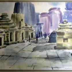 inside temple , 27 x 35 inch, jyoti sankar ray,still life paintings,paintings for living room,horizontal,handmade paper,watercolor,27x35inch,GAL034128156