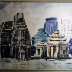 temple shrines, 27 x 35 inch, jyoti sankar ray,still life paintings,paintings for living room,horizontal,handmade paper,watercolor,27x35inch,GAL034128157