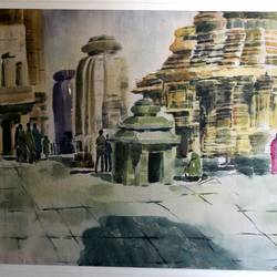 temple compound, 35 x 27 inch, jyoti sankar ray,still life paintings,paintings for living room,square,handmade paper,watercolor,35x27inch,GAL034128158