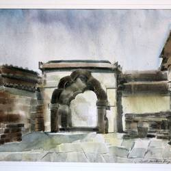 temple entrance, 35 x 27 inch, jyoti sankar ray,still life paintings,paintings for living room,square,handmade paper,watercolor,35x27inch,GAL034128159