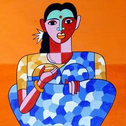 the telengana women, 11 x 14 inch, naheem rustum,figurative paintings,paintings for living room,thick paper,acrylic color,11x14inch,GAL0344816