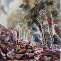 udaygiri caves, 27 x 35 inch, jyoti sankar ray,still life paintings,paintings for living room,vertical,handmade paper,watercolor,27x35inch,GAL034128161