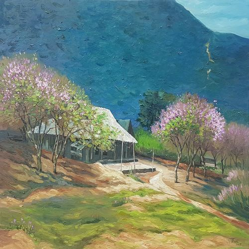 spring in the lake moc chau, 47 x 32 inch, acacia gallery,nature paintings,paintings for living room,horizontal,canvas,oil paint,47x32inch,GAL034148162Nature,environment,Beauty,scenery,greenery