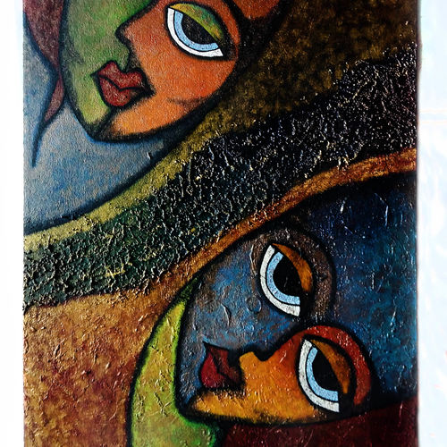 faces  contemporary art, 16 x 24 inch, neha chhabria,paintings,contemporary paintings,paintings for living room,canvas,mixed media,16x24inch,GAL034188167