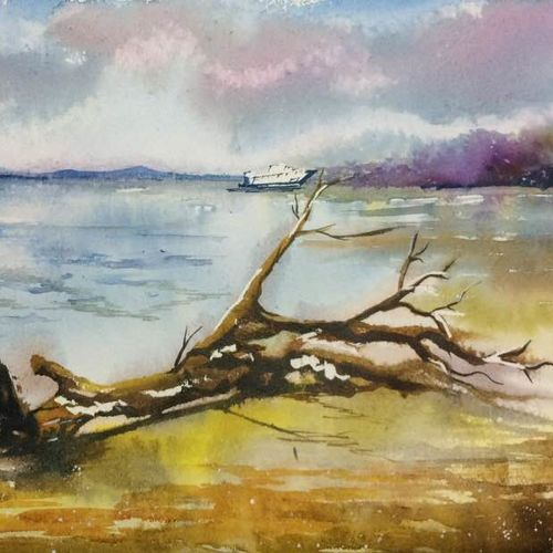 lonely beach- andaman, 21 x 14 inch, dipankar  biswas,paintings,landscape paintings,paintings for living room,handmade paper,watercolor,21x14inch,GAL029328168