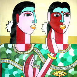 the telangana sisters, 11 x 14 inch, naheem rustum,figurative paintings,paintings for living room,thick paper,acrylic color,11x14inch,GAL0344817