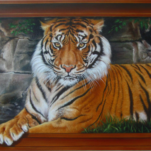 tiger, 39 x 24 inch, dinak divakaran,animal paintings,paintings for living room,canvas,oil,39x24inch,GAL02298176