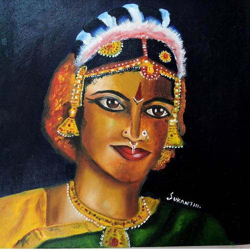 classical woman, 10 x 10 inch, kanthi sukanthi,paintings,figurative paintings,paintings for living room,canvas,oil,10x10inch,GAL07248179