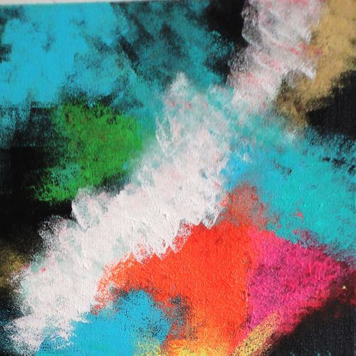 abstract - colors fight, 10 x 24 inch, amita dand,abstract paintings,paintings for living room,canvas board,acrylic color,10x24inch,GAL014678182