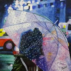 a girl with umbrella on street at night, 15 x 11 inch, pankti jain,street art,paintings for living room,figurative paintings,modern art paintings,kids paintings,paper,watercolor,15x11inch,GAL030578183