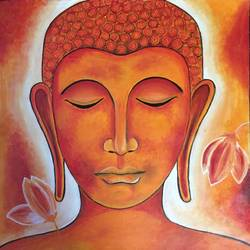 gautam budda  3, 20 x 20 inch, nischitha sn,buddha paintings,paintings for living room,canvas,acrylic color,20x20inch,religious,peace,meditation,meditating,gautam,goutam,buddha,orange,face,lotus,smiling,GAL029538185