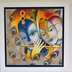 radha krishna , 24 x 24 inch, sudha sarawagi ,paintings,religious paintings,paintings for living room,canvas,oil,24x24inch,GAL034298187