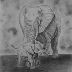 elephant with its baby, 10 x 14 inch, sudeshna ballav,paintings,wildlife paintings,drawing paper,pencil color,10x14inch,GAL032508188