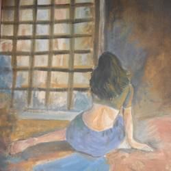 figure, 8 x 16 inch, arpita  pramanick,figurative paintings,paintings for bedroom,canvas,oil,8x16inch,GAL034328199