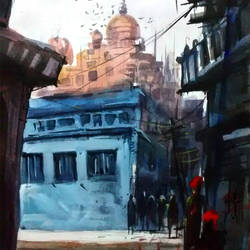 blue city temple, 21 x 15 inch, sankar thakur,landscape paintings,paintings for living room,fabriano sheet,watercolor,21x15inch,GAL0782