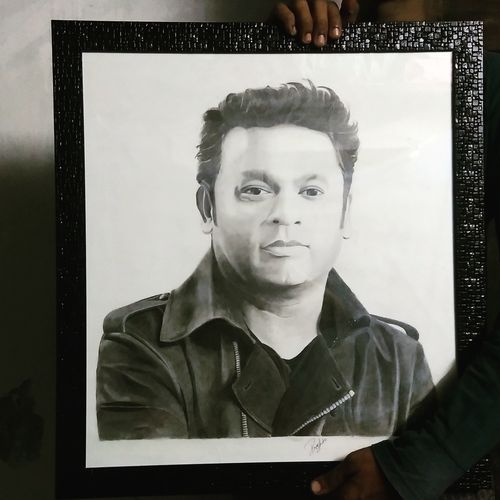 ar rahman, 20 x 22 inch, preshanth inaparthi,drawings,portrait drawings,paintings for living room,thick paper,pencil color,20x22inch,GAL034438203