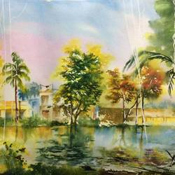 homes in the wood, 29 x 21 inch, dipankar  biswas,paintings,landscape paintings,paintings for bedroom,handmade paper,watercolor,29x21inch,GAL029328208