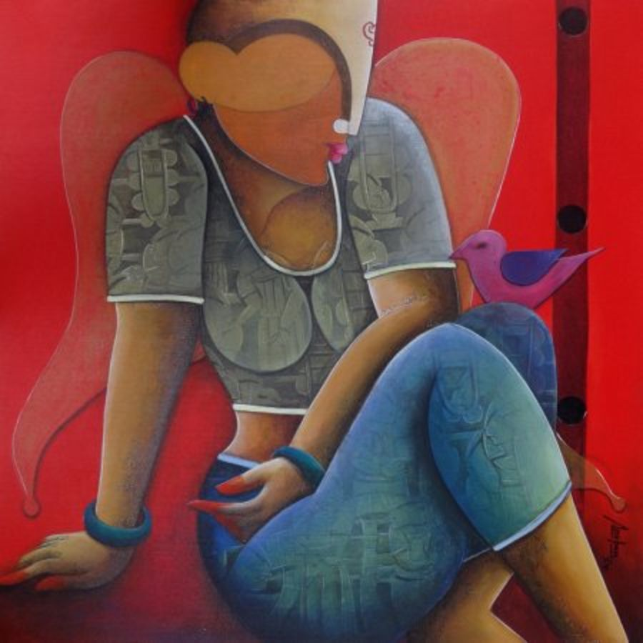in a conversation, 30 x 30 inch, anupam  pal,figurative paintings,paintings for living room,canvas,acrylic color,30x30inch,GAL082821