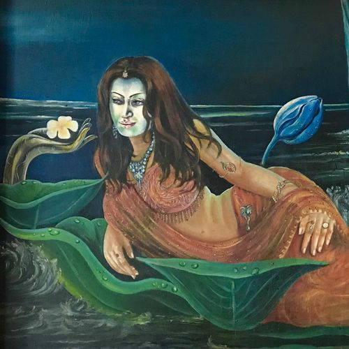 budha, 69 x 33 inch, sonali roy,paintings for living room,figurative paintings,modern art paintings,ply board,oil,69x33inch,GAL034248210