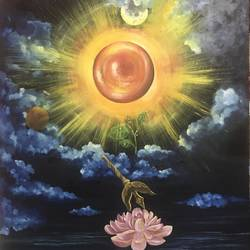 symbol of peace, universal inner peace, 30 x 40 inch, sonali roy,religious paintings,paintings for living room,canvas,oil,30x40inch,GAL034248212