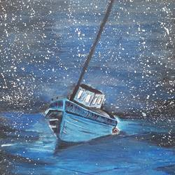boat and tide,star full in sky, 8 x 12 inch, artmeetartist deepak,paintings,nature paintings,thick paper,watercolor,8x12inch,GAL034548226Nature,environment,Beauty,scenery,greenery,night,water,ship,boat,water