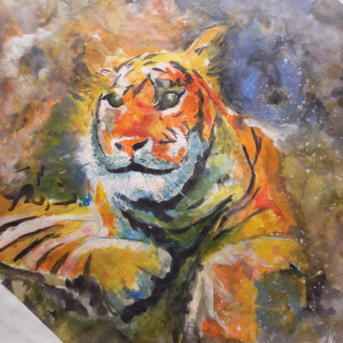 tiger, 8 x 10 inch, artmeetartist deepak,paintings,abstract paintings,paintings for living room,thick paper,mixed media,8x10inch,GAL034548227