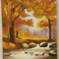forest in fall, 20 x 30 inch, sushma patil,landscape paintings,paintings for bedroom,vertical,canvas,oil paint,20x30inch,GAL034428230