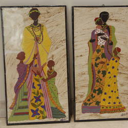 kenyan family (set of 3), 11 x 20 inch, sushma patil,paintings,folk art paintings,paintings for living room,handmade paper,acrylic color,11x20inch,GAL034428231