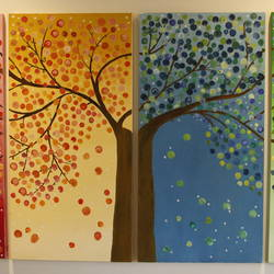 tree of prosperity (set of 4), 11 x 35 inch, sushma patil,multi piece paintings,paintings for living room,horizontal,canvas,oil paint,11x35inch,GAL034428232