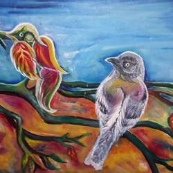 birds on tree, 22 x 15 inch, ruchi singh,wildlife paintings,paintings for living room,canvas board,oil,22x15inch,GAL034588243