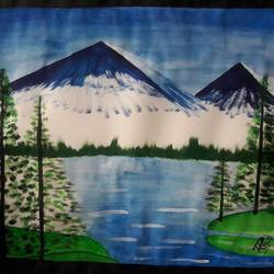 landscape, 14 x 11 inch, rohit choudhary,paintings,landscape paintings,paintings for dining room,paper,poster color,14x11inch,GAL034618247