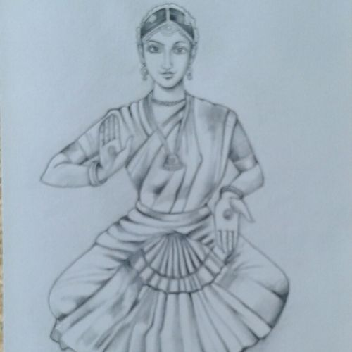 barathanatiya dance , 8 x 11 inch, sujitha artgallery,figurative drawings,paintings for living room,thick paper,pencil color,8x11inch,GAL04968249
