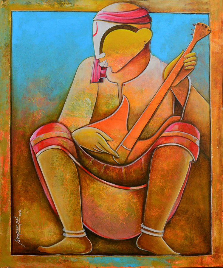 solo rhythms , 30 x 36 inch, anupam  pal,paintings for living room,figurative paintings,canvas,acrylic color,30x36inch,GAL082825
