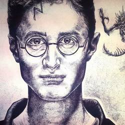 dot work of harry potter, 20 x 12 inch, pranjal sinha,drawings,portrait drawings,paintings for living room,drawing paper,pen color,20x12inch,GAL034648255