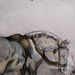 horse and field, 10 x 8 inch, artmeetartist deepak,animal paintings,paintings for dining room,horse paintings,rice paper,watercolor,10x8inch,GAL034548258