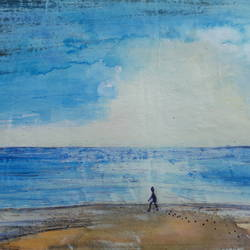 beach, 12 x 8 inch, artmeetartist deepak,paintings,landscape paintings,paintings for dining room,thick paper,mixed media,12x8inch,GAL034548260