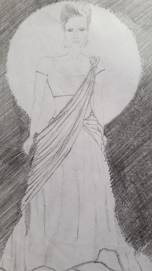 model-indian style, 8 x 12 inch, artmeetartist deepak,drawings,expressionist drawings,thick paper,pencil color,8x12inch,GAL034548261
