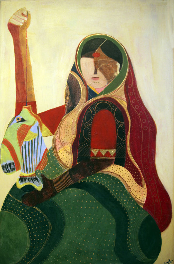fish series indian woman, 36 x 24 inch, siddharth  katragadda,figurative paintings,paintings for living room,canvas,acrylic color,36x24inch,GAL034668263