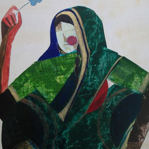 flower series  woman, 24 x 20 inch, siddharth  katragadda,figurative paintings,paintings for living room,canvas,acrylic color,24x20inch,GAL034668264