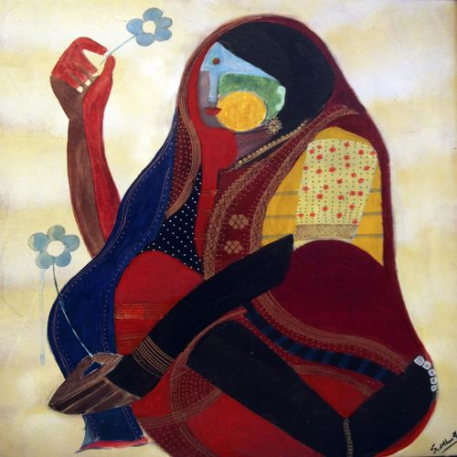 red flower series woman , 24 x 20 inch, siddharth  katragadda,figurative paintings,paintings for living room,canvas,acrylic color,24x20inch,GAL034668265